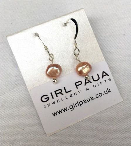 Freshwater Pearl (Pink) & Silver Bead Earrings FE02-PK